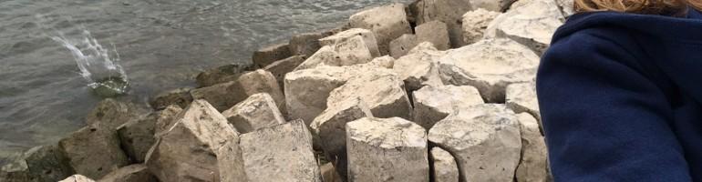 Steine in den Fluss schmeißen